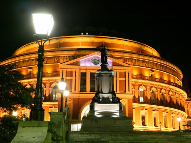Royal Albert Hall at night with street lights. Last Night of the Proms comes to Kyrenia, North Cyprus