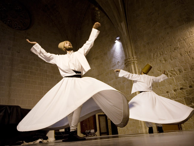 The Whirling Dervishes perform in Bellapais Abbey in North Cyprus