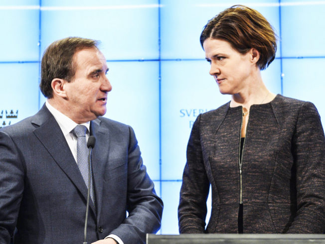 Sweden's PM Lofven and Moderate Party leader-elect Batra speak during a news conference at the Swedish Parliament in Stockholm