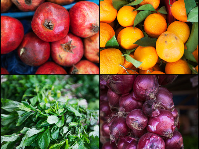 Four different fruits and vegetables