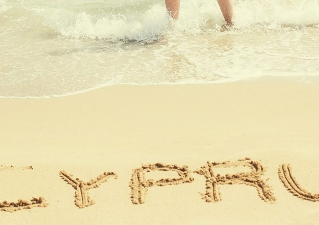 Cyprus written in the sand