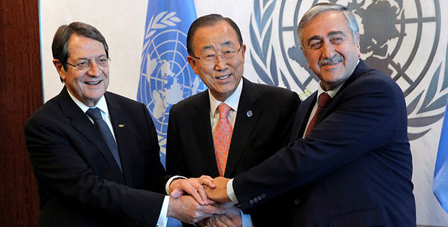 Mustafa Akinci, Nicos Anastasiades, and General Ban Ki-moon