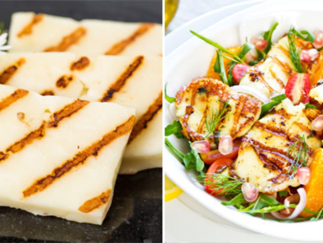 Halloumi cheese in a salad